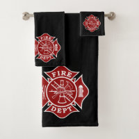 bath towels sets with firefighter maltese cross