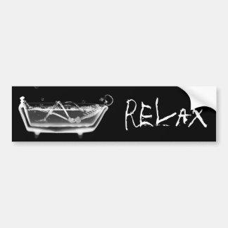 Bath Tub X-Ray Skeleton Black & White Car Bumper Sticker