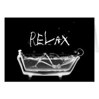Bath Tub X-Ray Skeleton Black & White Card