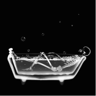 Bath Tub X-Ray Skeleton Black & White Cutout