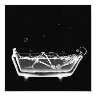 Bath Tub X-Ray Skeleton Black & White 5.25x5.25 Square Paper Invitation Card