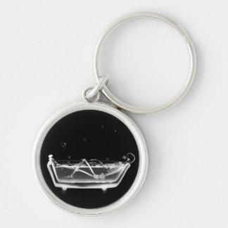 Bath Tub X-Ray Skeleton Black & White Keychain