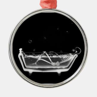 Bath Tub X-Ray Skeleton Black & White Metal Ornament