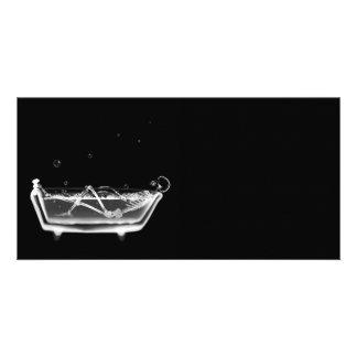 Bath Tub X-Ray Skeleton Black & White Photo Card