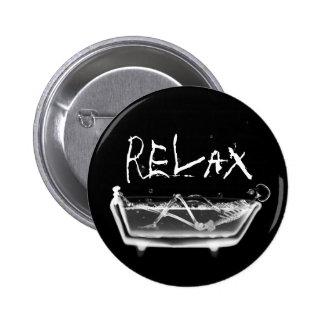 Bath Tub X-Ray Skeleton Black & White Pinback Button
