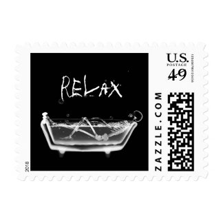 Bath Tub X-Ray Skeleton Black & White Stamp