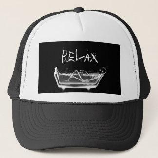 Bath Tub X-Ray Skeleton Black & White Trucker Hat