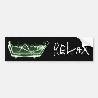 Bath Tub X-Ray Skeleton Green Bumper Sticker