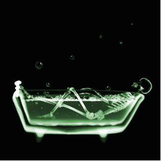 Bath Tub X-Ray Skeleton Green Cutout