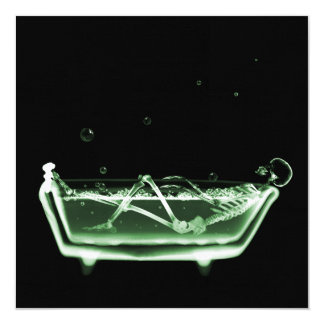 Bath Tub X-Ray Skeleton Green 5.25x5.25 Square Paper Invitation Card