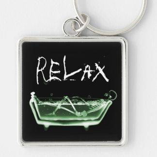 Bath Tub X-Ray Skeleton Green Keychain