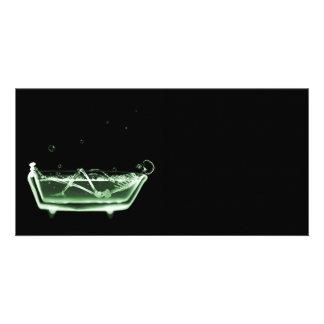 Bath Tub X-Ray Skeleton Green Custom Photo Card