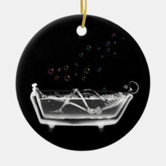 Bath Tub X-Ray Skeleton - Rainbow Bubbles Ceramic Ornament