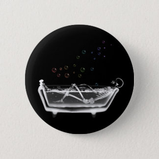 Bath Tub X-Ray Skeleton - Rainbow Bubbles Pinback Button
