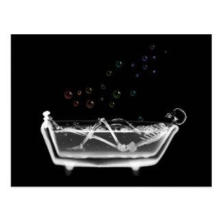 Bath Tub X-Ray Skeleton - Rainbow Bubbles Postcard