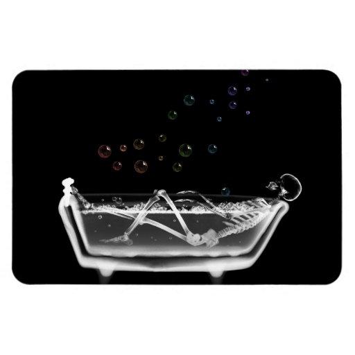 Bath Tub X-Ray Skeleton - Rainbow Bubbles Rectangle Magnets