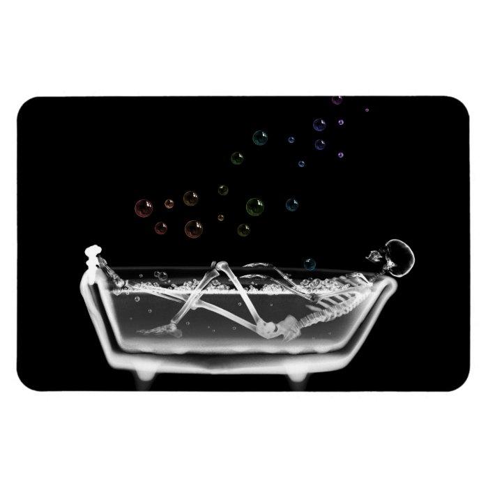 Bath Tub X-Ray Skeleton - Rainbow Bubbles Rectangular Photo Magnet