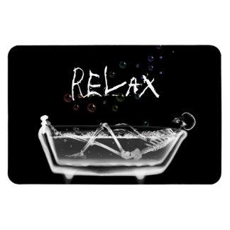 Bath Tub X-Ray Skeleton - Rainbow Bubbles - Relax Rectangular Magnet