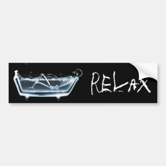 BATH TUB X-RAY VISION SKELETON - BLUE BUMPER STICKER