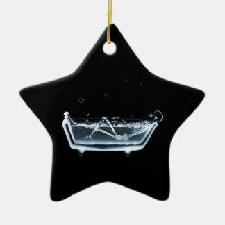 BATH TUB X-RAY VISION SKELETON - BLUE CERAMIC ORNAMENT