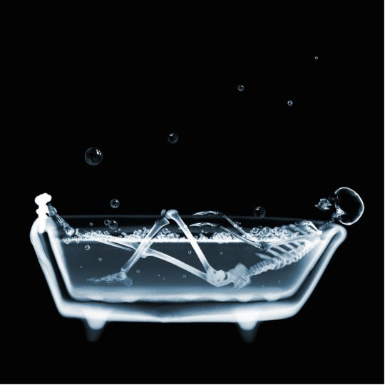 BATH TUB X-RAY VISION SKELETON - BLUE CUTOUT