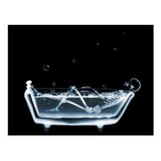 BATH TUB X-RAY VISION SKELETON - BLUE POSTCARD
