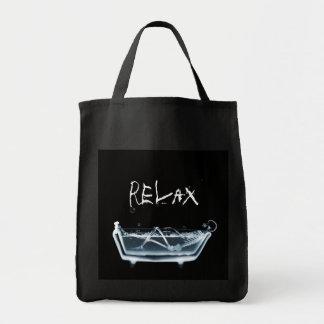 BATH TUB X-RAY VISION SKELETON - BLUE TOTE BAG
