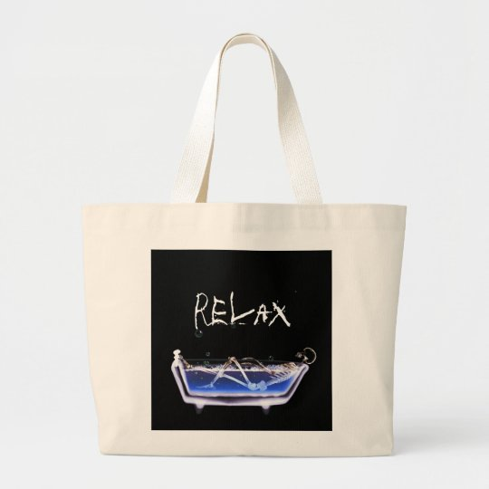 BATH TUB X-RAY VISION SKELETON - ORIGINAL LARGE TOTE BAG