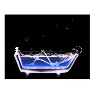 BATH TUB X-RAY VISION SKELETON - ORIGINAL POSTCARD