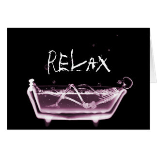 BATH TUB X-RAY VISION SKELETON - PINK GREETING CARD