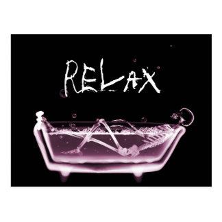 BATH TUB X-RAY VISION SKELETON - PINK POSTCARD