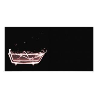 BATH TUB X-RAY VISION SKELETON - RED PHOTO CARD