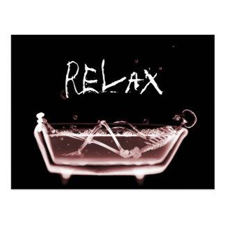 BATH TUB X-RAY VISION SKELETON - RED POSTCARD