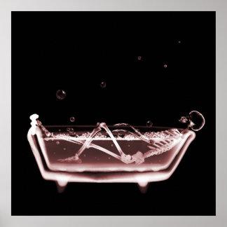 BATH TUB X-RAY VISION SKELETON - RED POSTER
