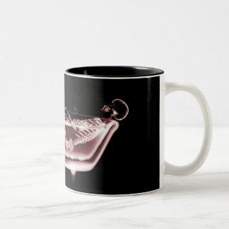 BATH TUB X-RAY VISION SKELETON - RED Two-Tone COFFEE MUG