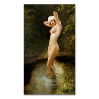 Bather (female nude) ~.jpg business card magnet