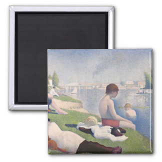 Bathers at Asnières, 1884 (oil on canvas) 2 Inch Square Magnet