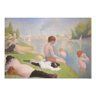 Bathers at Asnieres by Georges Seurat 3.5x5 Paper Invitation Card