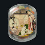 """Bathhouse 1780 jelly belly candy jar<br><div class=""""desc"""">Vintage Ukiyo-e image of women in a bathhouse. From an original 18th century (1780) woodcut,  Onna Yu (Bathhouse Women),  by Torii Kiyonaga. All Rights Reserved &#169; 2014 padre art</div>"""