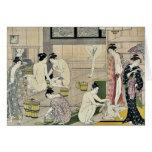 Bathhouse women diptych by Torii, Kiyonaga Ukiyo-e Cards