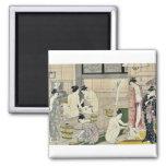 Bathhouse women diptych by Torii, Kiyonaga Ukiyo-e Refrigerator Magnets