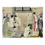 Bathhouse women diptych by Torii, Kiyonaga Ukiyo-e Postcard