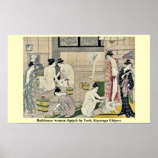 Bathhouse women diptych by Torii, Kiyonaga Ukiyo-e Poster