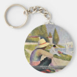 Bathing At Asnieres Detail By Seurat Georges Key Chain