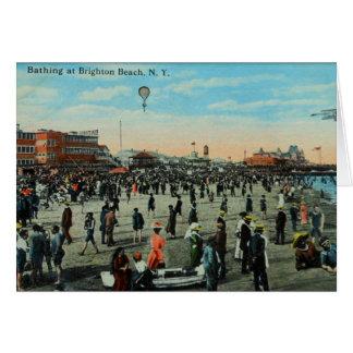 Bathing at Brighton Beach,Brooklyn Century Ago Card