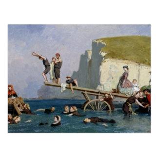 Bathing at Etretat Postcard