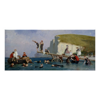 Bathing at Etretat Poster