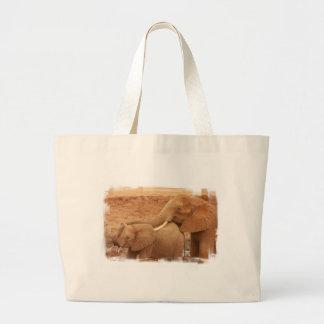 Bathing Baby Elephant Canvas Tote Bag
