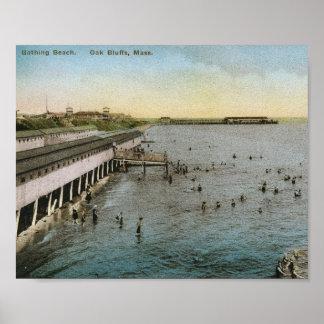 Bathing Beach, Oak Bluffs, Massachusetts Vintage Print