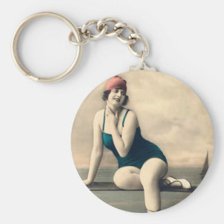 Bathing Beauties of the Past Basic Round Button Keychain
